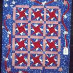 Miniature Honorable Mention Made by: Marilyn B. Brown, Lubbock, TX Quilted by: Marilyn B. Brown Sparkling Fireworks